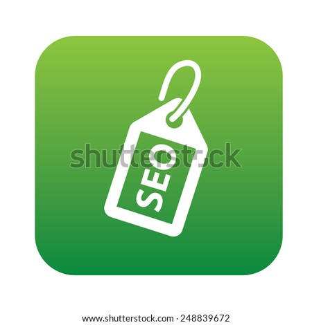 Tag seo on green button,clean vector - stock vector