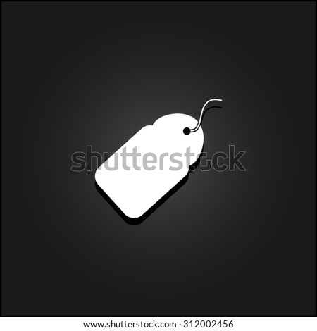 Tag. White flat simple vector icon with shadow on a black background - stock vector