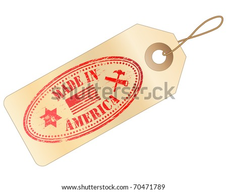 """Tag with """"MADE IN AMERICA"""" Rubber Stamp - stock vector"""