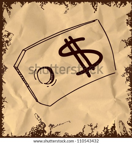 Tag with price sign isolated on vintage background. Hand drawing sketch vector illustration