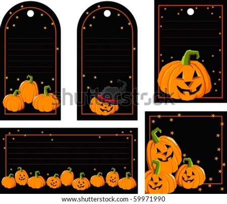 Tag with pumpkin - stock vector