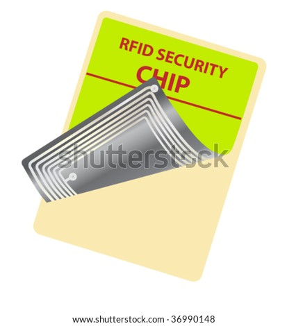 tag with RFID chip - stock vector