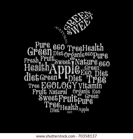 Tagcloud: apple of words - stock vector