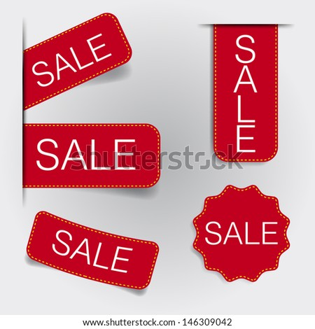 Tags and Labels minimal design vector red theme - stock vector