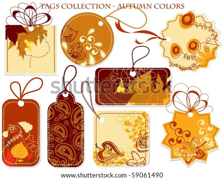 Tags collection in autumn colors - stock vector