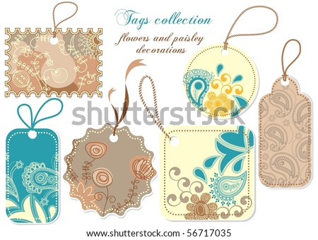 Tags collection; paisley and flowers decorations