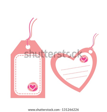 tags of love on white background - stock vector