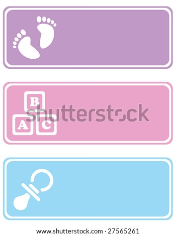 Tags with baby related icons on them, such as footprints, building blocks and a pacifier - stock vector