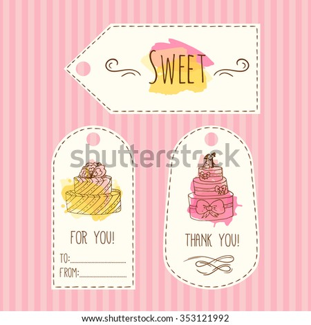 Tags with cake illustration. Vector hand drawn labels with watercolor splashes. Sweet vector cakes with cream and berries. Template label set. Wedding cake design - stock vector