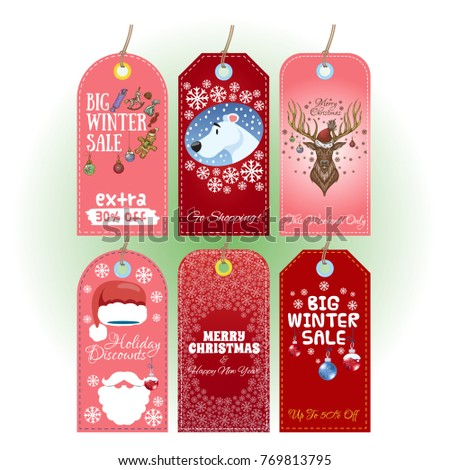 tags with christmas and new year themes in the red range