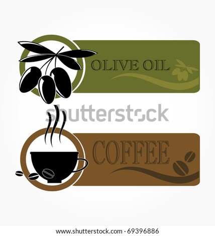 tags with olive and coffee cup icons - stock vector