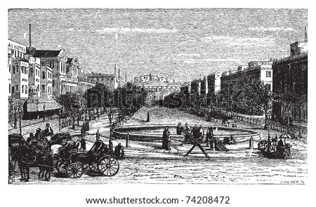 Tahrir Square (formerly Mohammed Ali Square and Place des Consuls), in Alexandria, Egypt. Scenic engraving. Old engraved illustration, around 1890. - stock vector