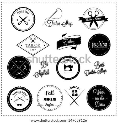 Tailor shop design elements - stock vector