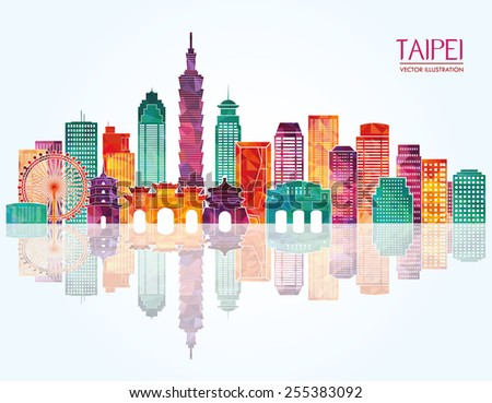 Taipei detailed skyline. Vector illustration - stock vector
