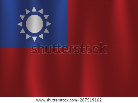 Taiwan flag, three dimensional render, satin texture - stock vector