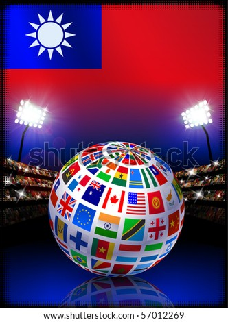 Taiwan Flag with Globe on Stadium Background Original Illustration