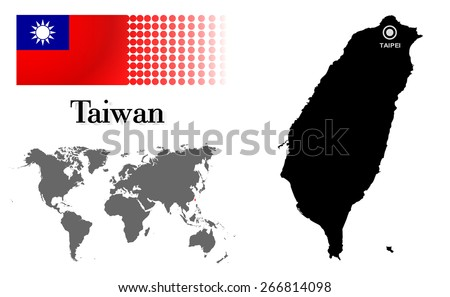 Taiwan Info Graphic With Flag , Location In World Map, Map And The Capital ,