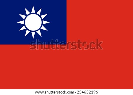 Taiwan, officially the Republic of China official flag in both color and dimensions - stock vector