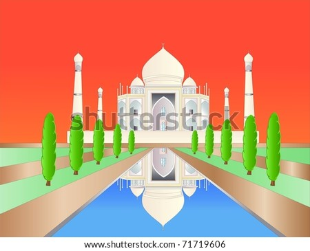 Taj mahal at sundown ( background on separate layer ) - stock vector
