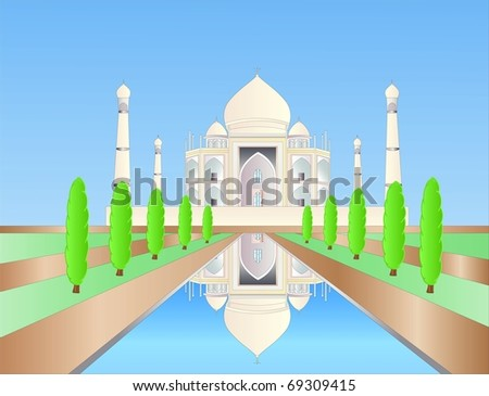 Taj Mahal ( background on separate layer ) - stock vector