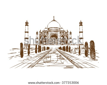 Taj Mahal, India - hand drawn vector illustration - stock vector