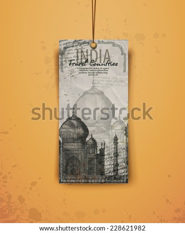 Taj Mahal. India. vintage hand drawn vector illustration. Vector format - stock vector