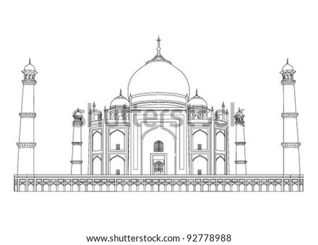 Taj Mahal vector outlines in very high detail - stock vector
