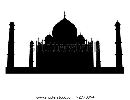 Taj Mahal vector silhouette in very high detail - stock vector