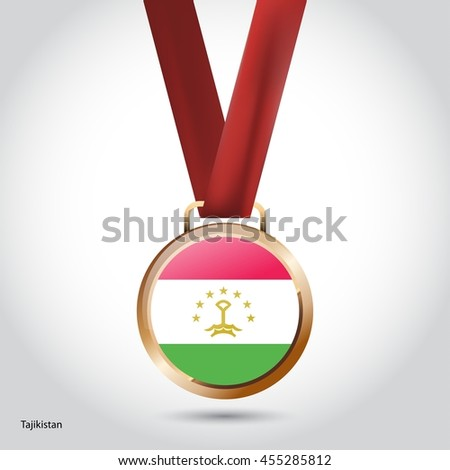 Tajikistan Flag in Bronze Medal. Vector Illustration - stock vector