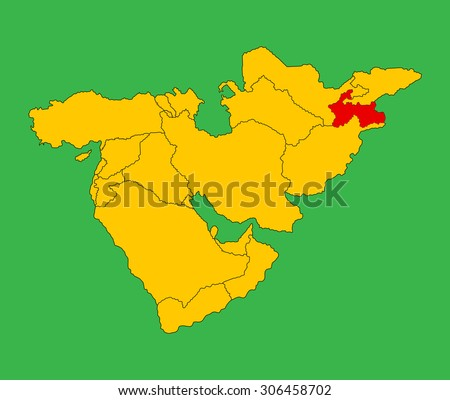 Tajikistan vector map silhouette illustration isolated on Middle east vector map. - stock vector