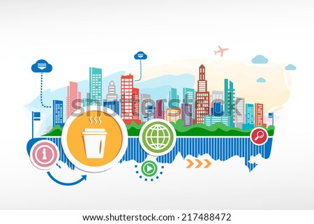 Take a Coffee and cityscape background with different icon. Design for the print, advertising. - stock vector