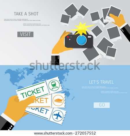 Take a shot and travel vector illustration. - stock vector