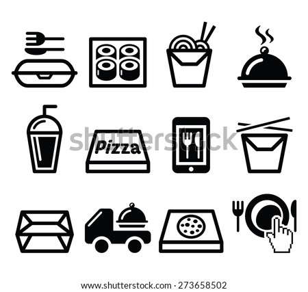 Take away box, meal vector icons set - stock vector