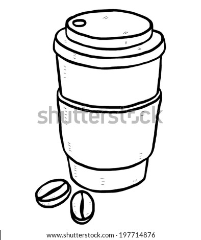 take away coffee cup and coffee beans / cartoon vector and illustration, black and white, hand drawn, sketch style, isolated on white background. - stock vector