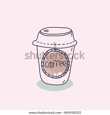 Take away coffee. doodle coffee cup isolated