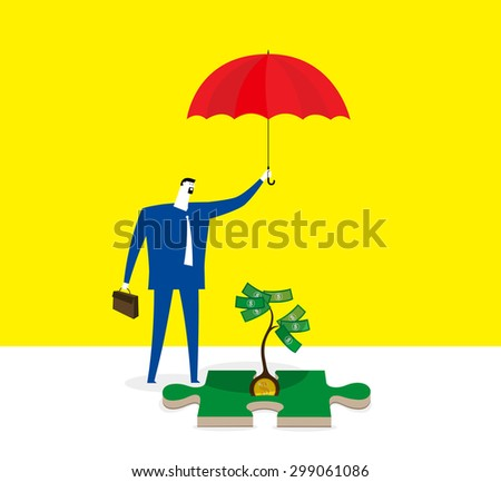 Take care the seed of money - stock vector