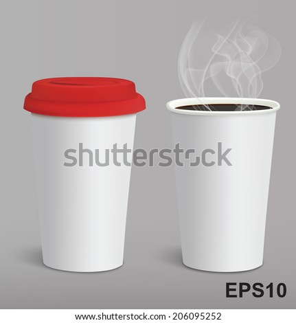 Take-out coffee in cardboard closed and opened cups. Vector illustration
