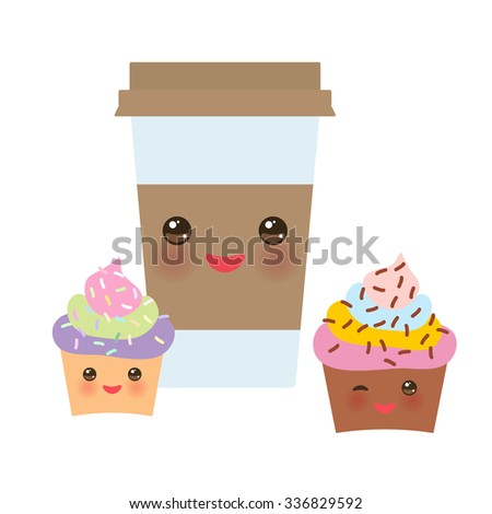 Take-out coffee in Paper thermo coffee cup with brown cap and cup holder, chocolate cupcake. Kawaii cute face with eyes and smile  Isolated on white background. Vector - stock vector