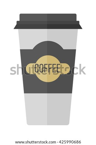 Take-out coffee in thermo cup. Isolated on white coffee cup. Disposable coffee cup icon with coffee beans logo and coffee cup fast food vending. Espresso cappuccino latte container coffee cup. - stock vector