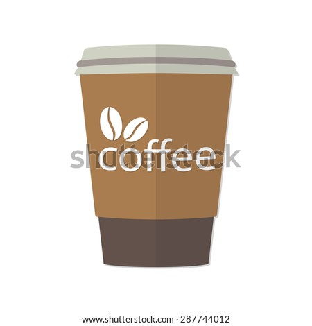 Take-out or takeaway coffee cup with image of coffee beans. Vector illustration of espresso in cardboard container isolated on white background. - stock vector
