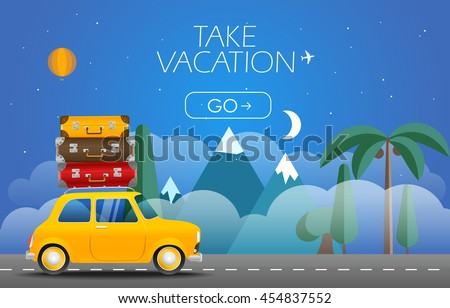 Take Vacation travelling concept. Flat design illustration. Retro car with bags - stock vector