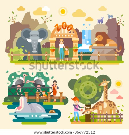 Take your children and let's go to the Zoo! Kind Elephant, majestic lion, huge yawning hippopotamus, ostriches, giraffes, happy kids. Flat vector illustrations - stock vector