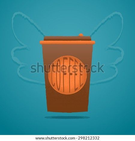 Takeaway coffee cup illustration. Vector design. Hand drawn texture.