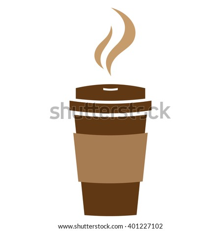 Takeaway hot coffee paper cup with steam. Vector sign. - stock vector