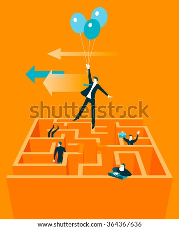 Takes off on the baloons out of the maze. Vector illustration - stock vector