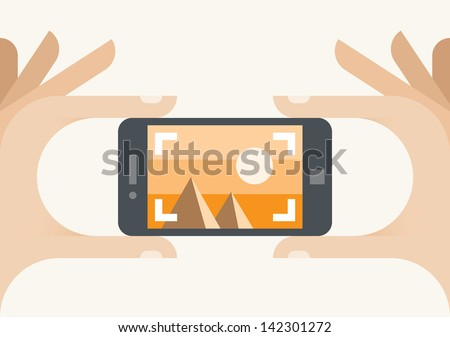 Taking a photo with mobile phone camera in human hands. Idea - Travel Photography and Mobile photo technologies. Enjoy! - stock vector
