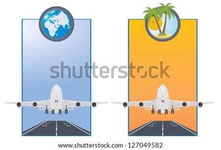 Taking off airplane. Two vector cards - stock vector