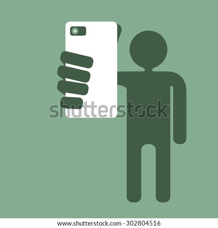 taking picture with smartphone - stock vector
