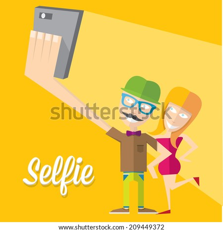 taking selfie on smartphone on orabge background. young couple taking selfie photo together with mobile phone. vector illustration - stock vector