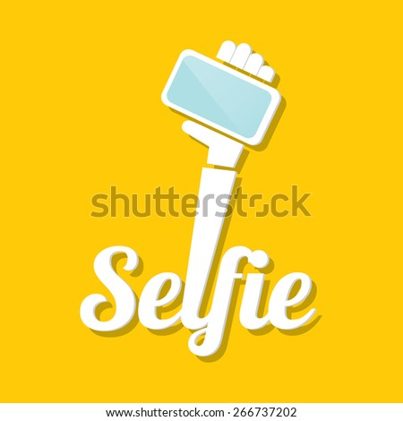 Taking Selfie Photo on Smart Phone concept icon set. vector illustration - stock vector